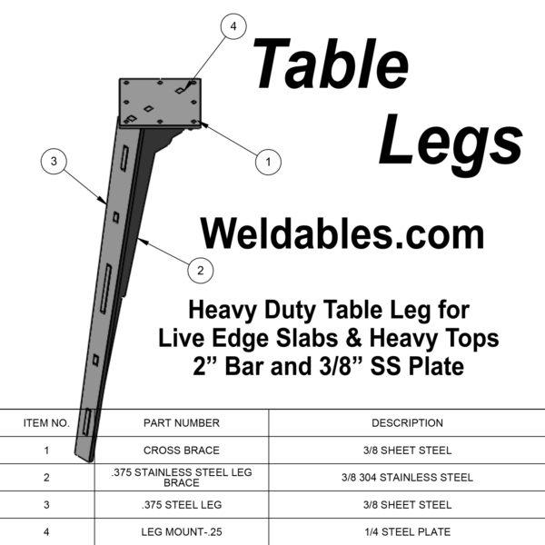 furniture leg live edge heavy duty