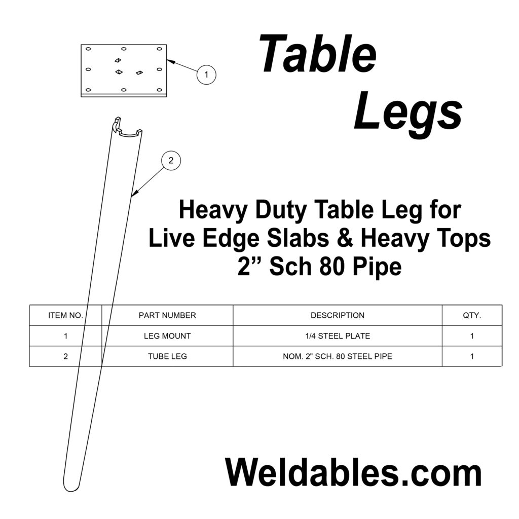 furniture leg live edge heavy duty tube