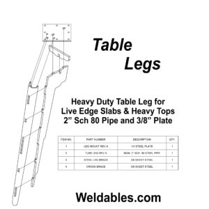 furniture leg live-edge heavy duty tube brace